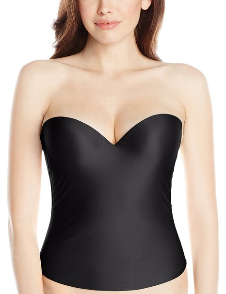 Felina Essentials Seamless Hidden Wire Bustier – Black Front